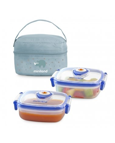 Pack 2 Go Bolsa Isotérmica con 2 Recipientes HermiFresh Azul de Miniland