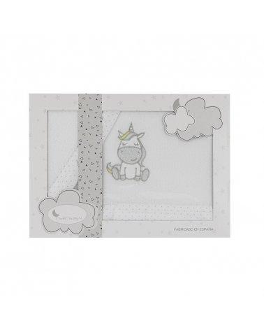 Sábanas Minicuna Coralina Unicornio Blanco/Gris
