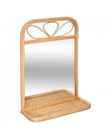 Espejo Decorativo con estante de Ratán de Atmosphera